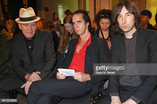 Paul Simonon Nick Cave and Bobby Gillespie attend the Pam Hogg SS18 catwalk show at Freemasons Hall during London Fashion Week on September 15 2017...