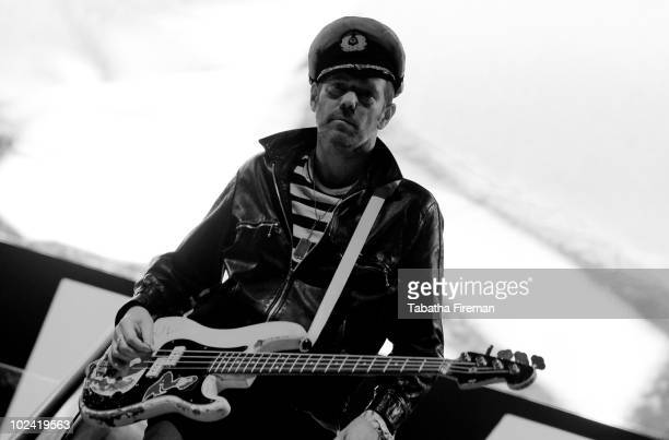 Paul Simonon of Gorillaz headlines the Pyramid stage during the second day of Glastonbury Festival at Worthy Farm on June 25 2010 in Glastonbury...