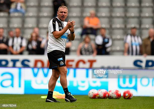 Paul Simpson coach of Newcastle United ahead of the Barclays Premier League match between Newcastle United and Southampton at St James' Park on...