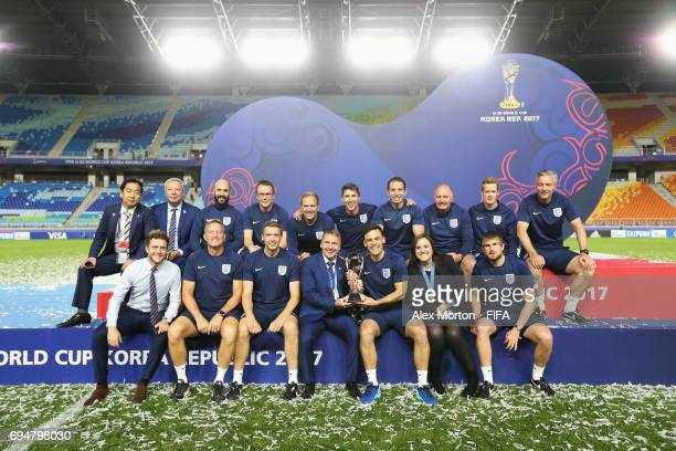 Paul Simpson manager of England and coaching staff celebrate victory after the FIFA U20 World Cup Korea Republic 2017 Final between Venezuela and...