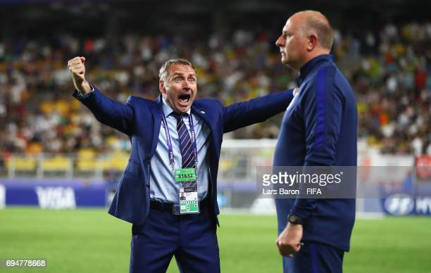 Paul Simpson manager of England celebrates victory after the FIFA U20 World Cup Korea Republic 2017 Final between Venezuela and England at Suwon...