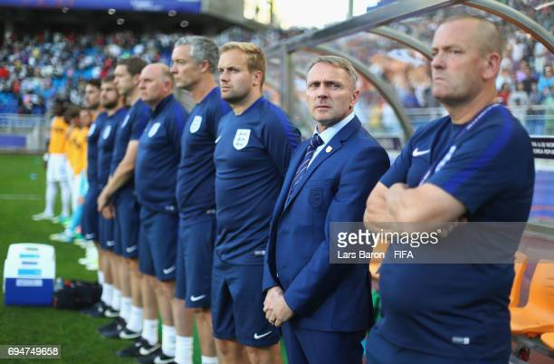 Paul Simpson manager of England lines up with the team bench prior to the FIFA U20 World Cup Korea Republic 2017 Final between Venezuela and England...