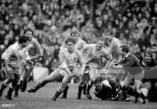 Paul Simpson of England runs with the ball during the Scotland v England Rugby International played at Murrayfield Edinburgh on the 4th February 1984...