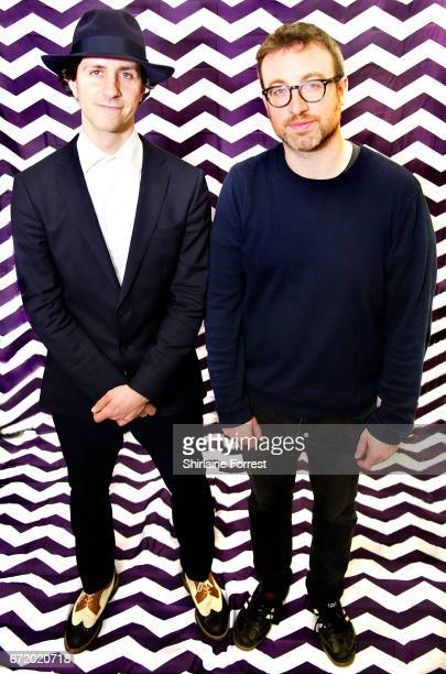 Paul Smith and Duncan Lloyd of Maximo Park pose backstage after performing live meeting fans and signing copies of their new album 'Risk to Exist' on...