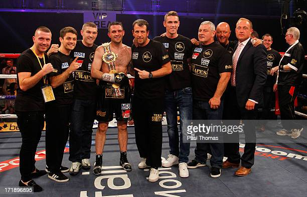 Paul Smith celebrates with the belt after beating Tony Dodson in the British Super Middleweight championship fight at Bolton Arena on June 29 2013 in...