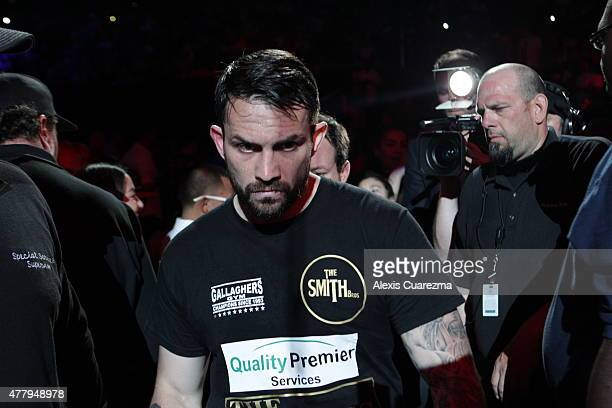Paul Smith enters the ring for his Cruiserweight fight against Andre Ward at ORACLE Arena on June 20 2015 in Oakland California