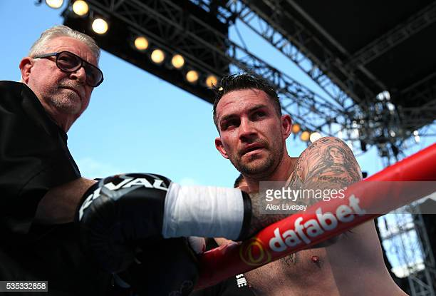 Paul Smith looks on after facing Bartlomiej Grafka in the SuperMiddleweight Contest at Goodison Park on May 29 2016 in Liverpool England