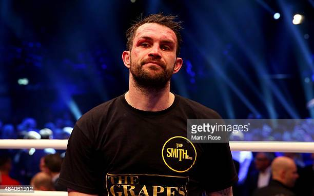 Paul Smith of Great Britain looks dejected after the WBO World Championship Super Middleweight title fight at o2 World on February 21 2015 in Berlin...