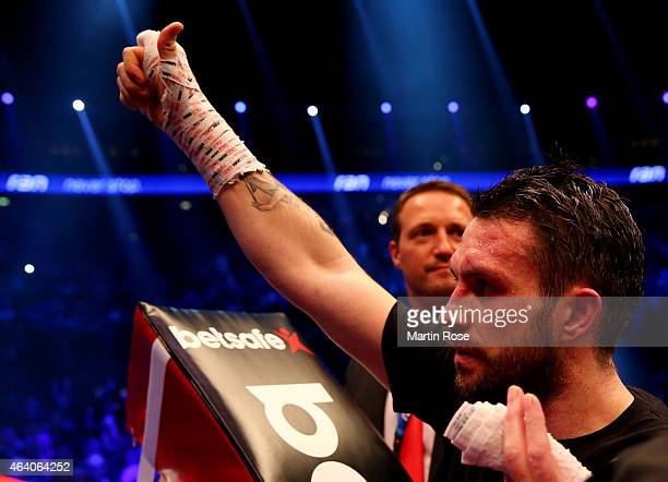 Paul Smith of Great Britain reacts after the WBO World Championship Super Middleweight title fight at o2 World on February 21 2015 in Berlin Germany