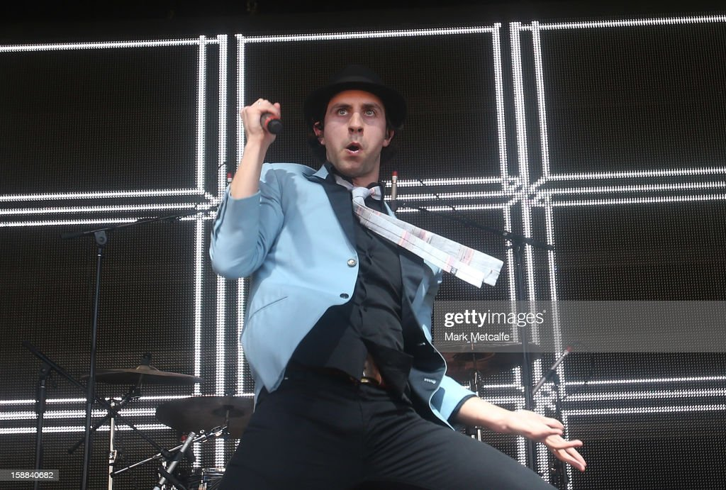 Paul Smith of Maximo Park performs live on stage at The Falls Music and Arts Festival on December 31, 2012 in Lorne, Australia.