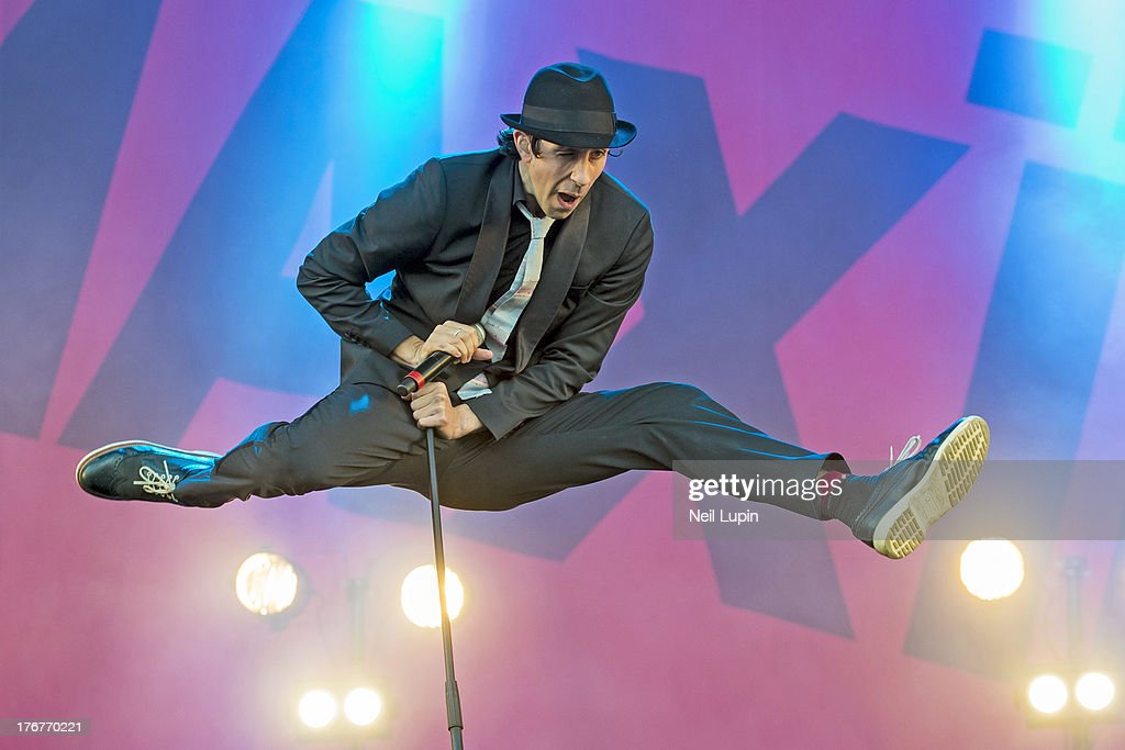 Paul Smith of Maximo Park performs on day 2 of the V Festival at Hylands Park on August 18, 2013 in Chelmsford, England.