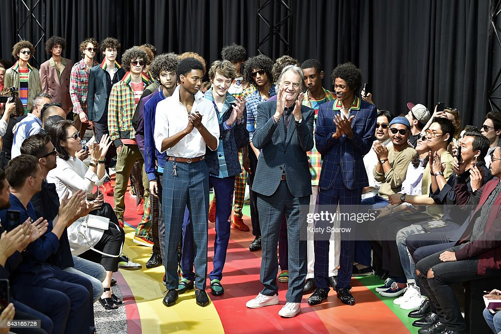Paul Smith poses with models during the Paul Smith Menswear Spring/Summer 2017 show as part of Paris Fashion Week on June 26, 2016 in Paris, France.