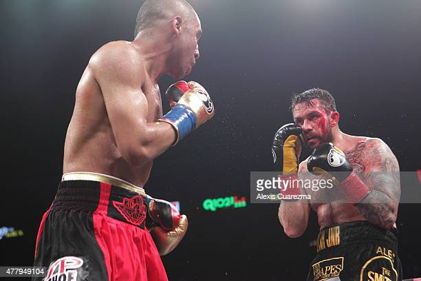 Paul Smith suffers a cut in the 9th round during his Cruiserweight fight against Andre Ward at ORACLE Arena on June 20 2015 in Oakland California