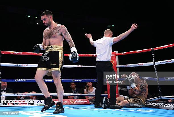 Paul Smith walks away after knocking down Bronislav Kubin to win the SuperMiddleweight Contest between Paul Smith and Bronislav Kubin at Manchester...