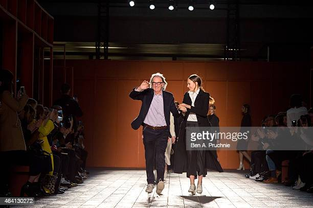 Paul Smith walks the runway at the Paul Smith show during London Fashion Week Fall/Winter 2015/16 at Central Saint Martins on February 22 2015 in...