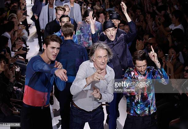 Paul Smith walks the runway with models during the Paul Smith Menswear Spring/Summer 2012 show as part of Paris Fashion Week at Couvent des...