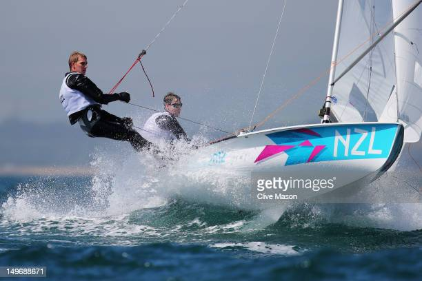 Paul SnowHansen and Jason Saunders of New Zealand compete in the Men's 470 Sailing on Day 6 of the London 2012 Olympic Games at the Weymouth Portland...