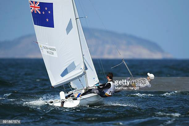 Paul SnowHansen of New Zealand and Daniel Willcox of New Zealand compete in the Men's 470 class at the Marina da Gloria on Day 13 of the 2016 Rio...