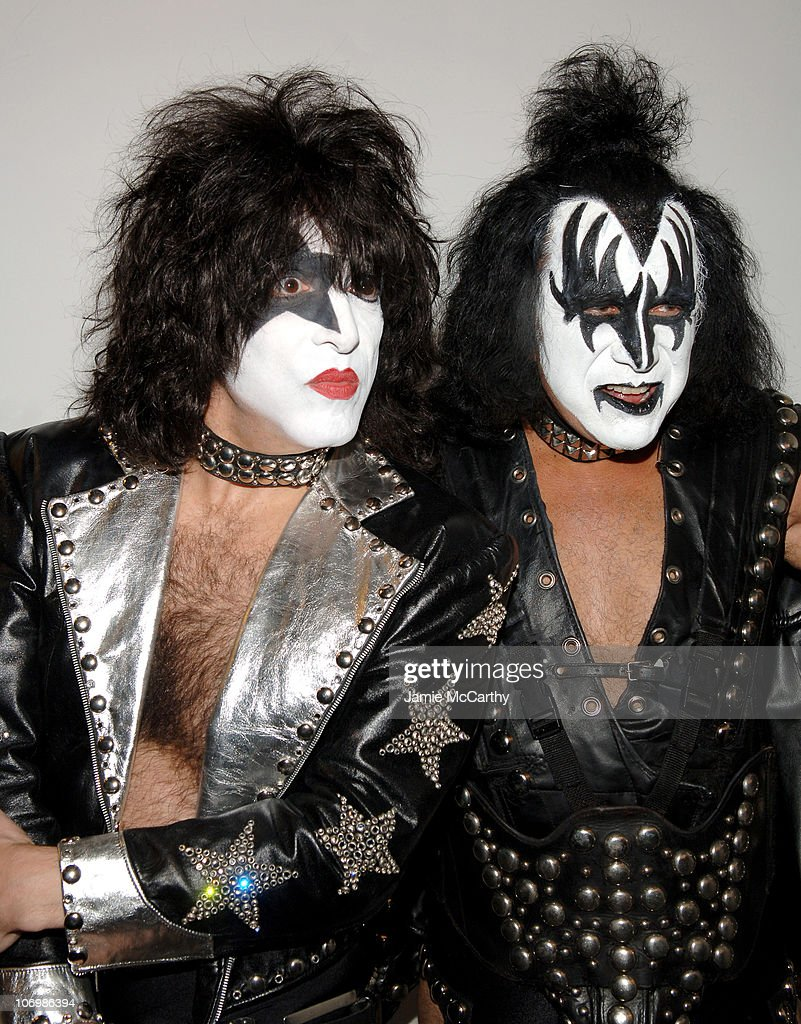 Paul Stanley and Gene Simmons of Kiss during Kiss and Lady Sovereign Vist MTV's 'TRL' - October 31, 2006 at MTV Studios Times Square in New York City, New York, United States.