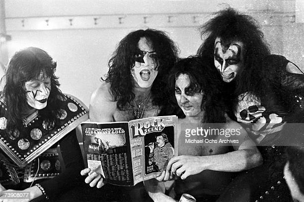 Paul Stanley and Gene Simmons of the rock and roll band 'Kiss' pose for a portrait session backstage on May 31 1974 in Los Angeles California