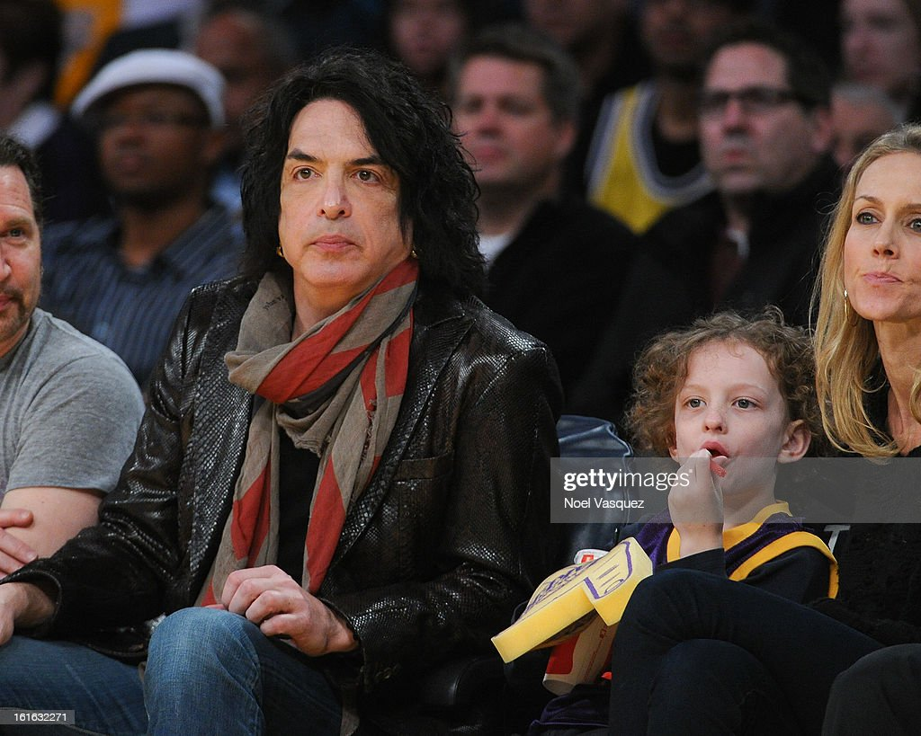 Paul Stanley and his son Colin Stanley attend a basketball game between the Phoenix Suns and the Los Angeles Lakers at Staples Center on February 12, 2013 in Los Angeles, California.