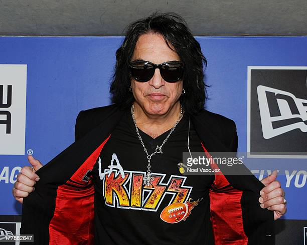 Paul Stanley attends a baseball game between the Boston Red Sox and the Los Angeles Dodgers at Dodger Stadium on August 25 2013 in Los Angeles...