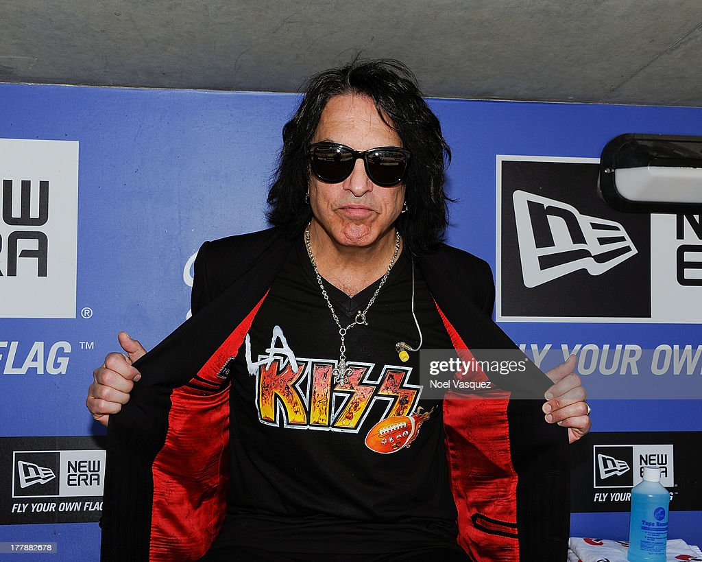 Paul Stanley attends a baseball game between the Boston Red Sox and the Los Angeles Dodgers at Dodger Stadium on August 25, 2013 in Los Angeles, California.