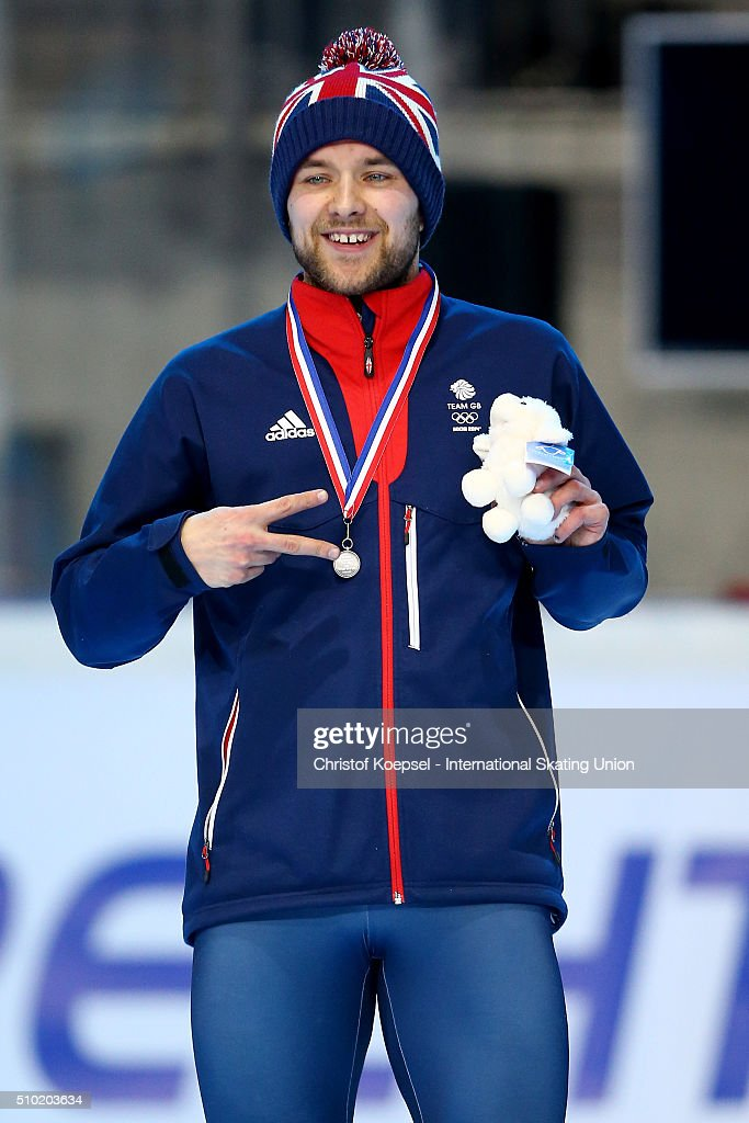 Paul Stanley of Great Britain poses during the medal ceremony after winning the 2nd place of the men 500m final A during Day 3 of ISU Short Track World Cup at Sportboulevard on February 14, 2016 in Dordrecht, Netherlands.