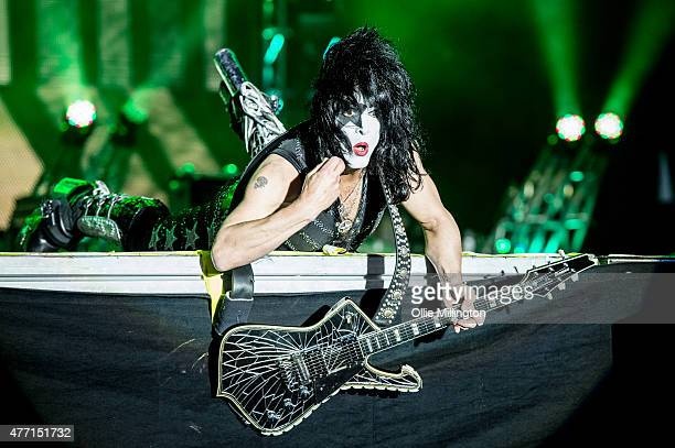 Paul Stanley of Kiss performs onstage headlingin the final night of Download Festival 2015 at Donnington Park on June 14 2015 in Donnington United...