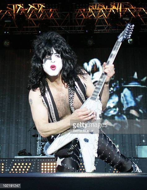 Paul Stanley of the band Kiss performs on stage during the final day of Rock Im Park Festival at Zeppelinfeld on June 6 2010 in Nuremberg Germany