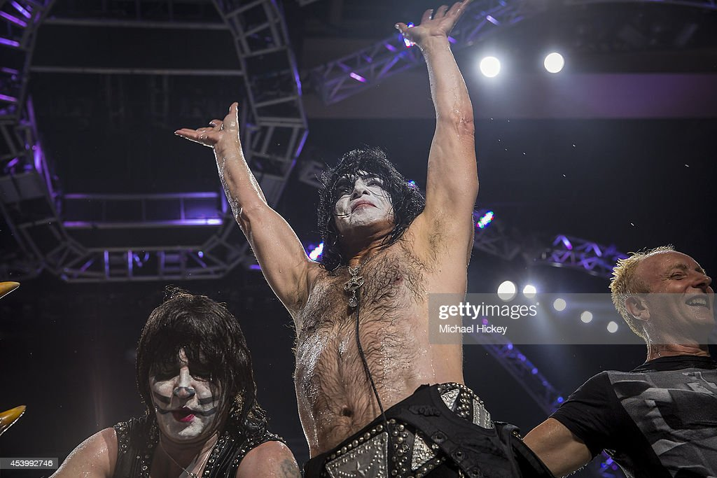 Paul Stanley of the band KISS waves to the crowd after participating in the ALS Ice Bucket Challenge at Klipsch Music Center on August 22 2014 in...