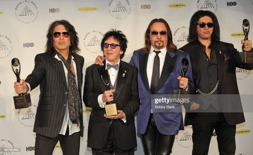 Paul Stanley, <a gi-track='captionPersonalityLinkClicked' href=/galleries/search?phrase=Peter+Criss&family=editorial&specificpeople=711301 ng-click='$event.stopPropagation()'>Peter Criss</a>, <a gi-track='captionPersonalityLinkClicked' href=/galleries/search?phrase=Ace+Frehley&family=editorial&specificpeople=226761 ng-click='$event.stopPropagation()'>Ace Frehley</a> and <a gi-track='captionPersonalityLinkClicked' href=/galleries/search?phrase=Gene+Simmons&family=editorial&specificpeople=138593 ng-click='$event.stopPropagation()'>Gene Simmons</a> of KISS attends the 29th Annual Rock And Roll Hall Of Fame Induction Ceremony at Barclays Center on April 10, 2014 in the Brooklyn borough of New York City.