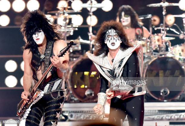 Paul Stanly and Tommy Thayer of Kiss performs at Fashion Rocks 2014 on September 9 2014 in New York United States