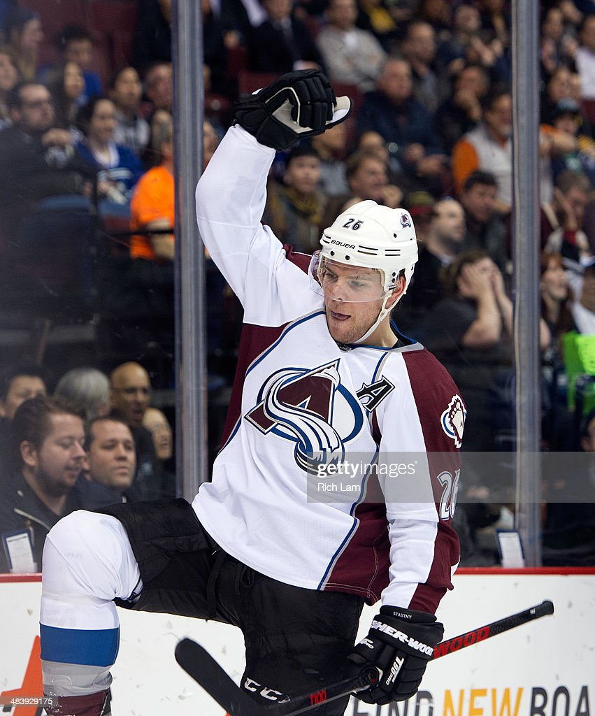 Paul Stastny #26 of the Colorado Avalanche celebrates after scoring a goal against the Vancouver Canucks during the first period in NHL action on April 10, 2014 at Rogers Arena in Vancouver, British Columbia, Canada.