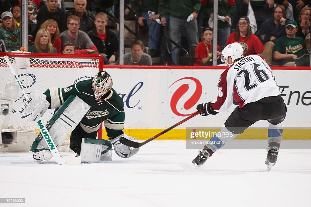 Paul Stastny #26 of the Colorado Avalanche scores a short-handed goal against Darcy Kuemper #35 of the Minnesota Wild during Game Six of the First Round of the 2014 Stanley Cup Playoffs on April 28, 2014 at the Xcel Energy Center in St. Paul, Minnesota.