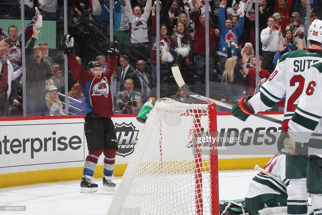 <a gi-track='captionPersonalityLinkClicked' href=/galleries/search?phrase=Paul+Stastny&family=editorial&specificpeople=2494330 ng-click='$event.stopPropagation()'>Paul Stastny</a> #26 of the Colorado Avalanche scores the tying goal with seconds remaining the in third period against the Minnesota Wild in Game One of the First Round of the 2014 Stanley Cup Playoffs at the Pepsi Center on April 17, 2014 in Denver, Colorado.