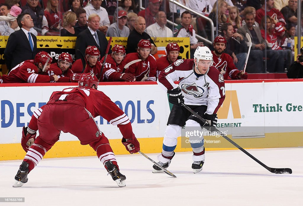 <a gi-track='captionPersonalityLinkClicked' href=/galleries/search?phrase=Paul+Stastny&family=editorial&specificpeople=2494330 ng-click='$event.stopPropagation()'>Paul Stastny</a> #26 of the Colorado Avalanche skates with the puck against <a gi-track='captionPersonalityLinkClicked' href=/galleries/search?phrase=Rostislav+Klesla&family=editorial&specificpeople=207079 ng-click='$event.stopPropagation()'>Rostislav Klesla</a> #16 of the Phoenix Coyotes during the first period of the NHL game at Jobing.com Arena on April 26, 2013 in Glendale, Arizona. The Avalanche defeated the Coyotes 5-4 in an overtime shoot-out.