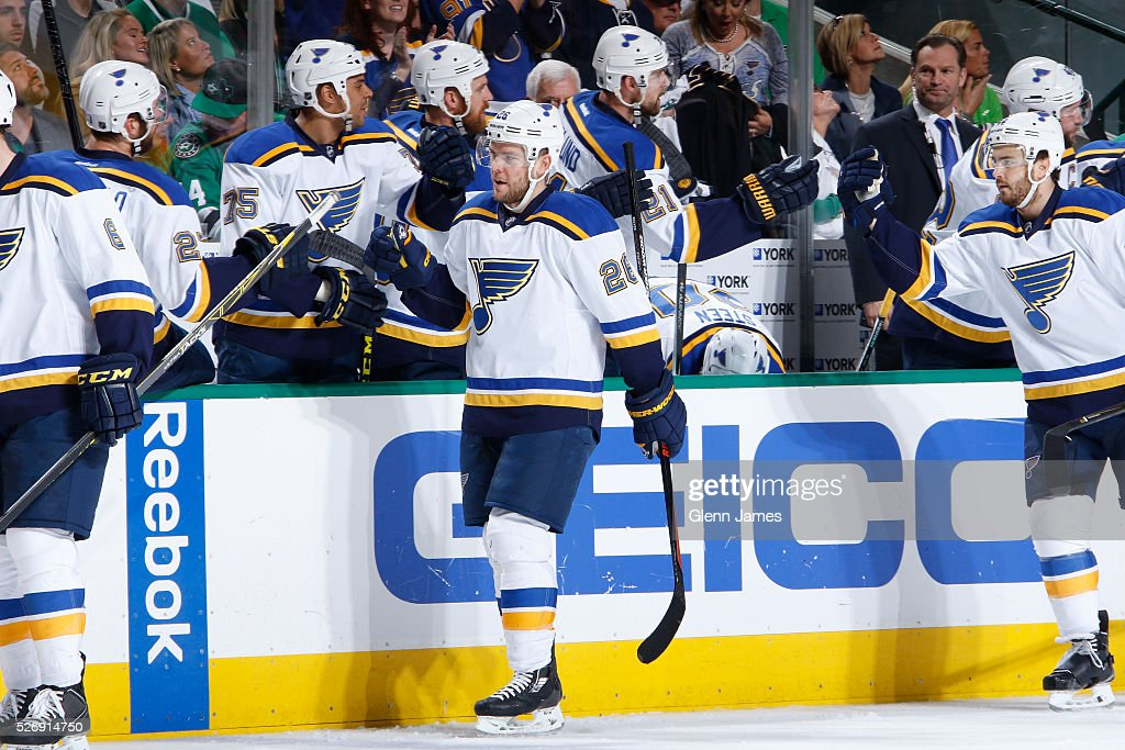 Paul Stastny #26 of the St. Louis Blues celebrates a goal against the Dallas Stars in Game Two of the Western Conference Second Round during the 2016 NHL Stanley Cup Playoffs at the American Airlines Center on May 1, 2016 in Dallas, Texas.