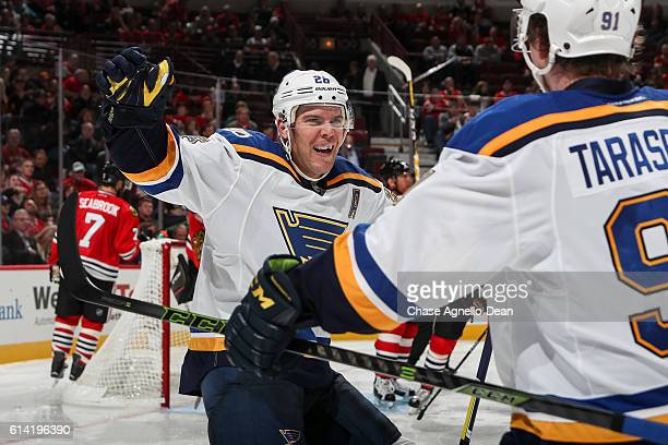Paul Stastny of the St Louis Blues reacts after scoring against the Chicago Blackhawks in the third period during the season opener at the United...