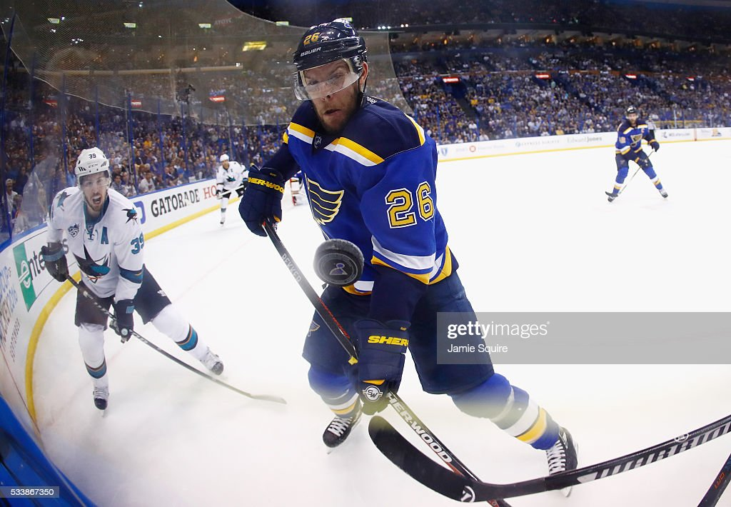 Paul Stastny of the St Louis Blues watches the puck during the second period against the San Jose Sharks in Game Five of the Western Conference Final...
