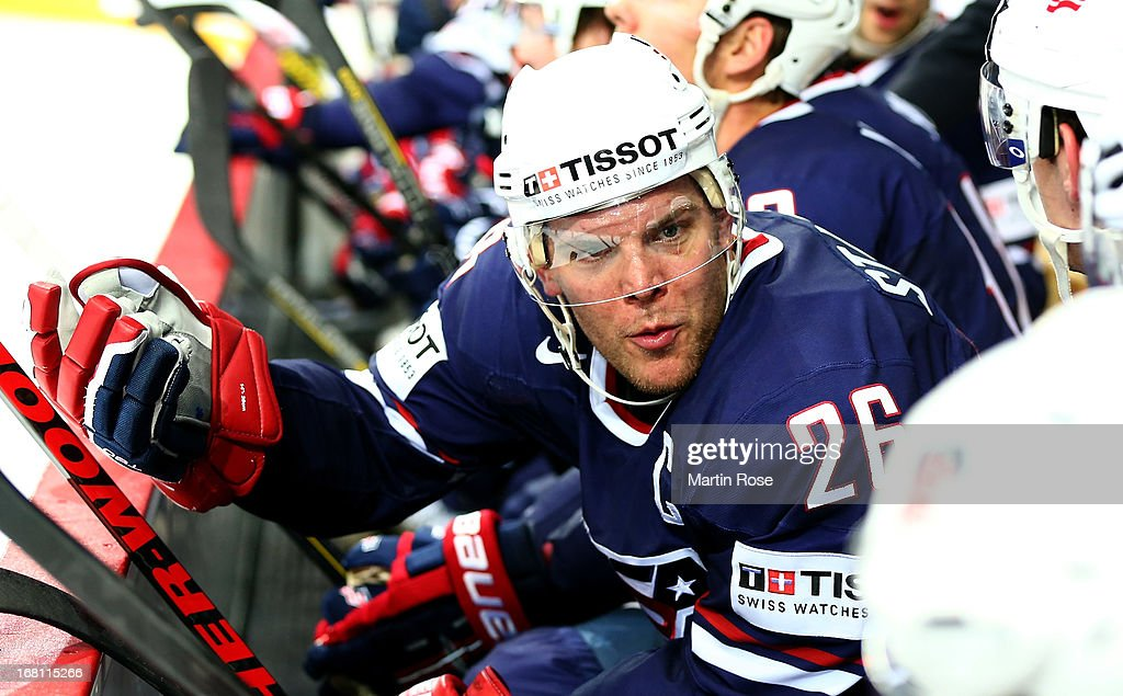 Paul Stastny of USA reacts during the IIHF World Championship group H match between Latvia and USA at Hartwall Areena on May 5, 2013 in Helsinki, Finland.
