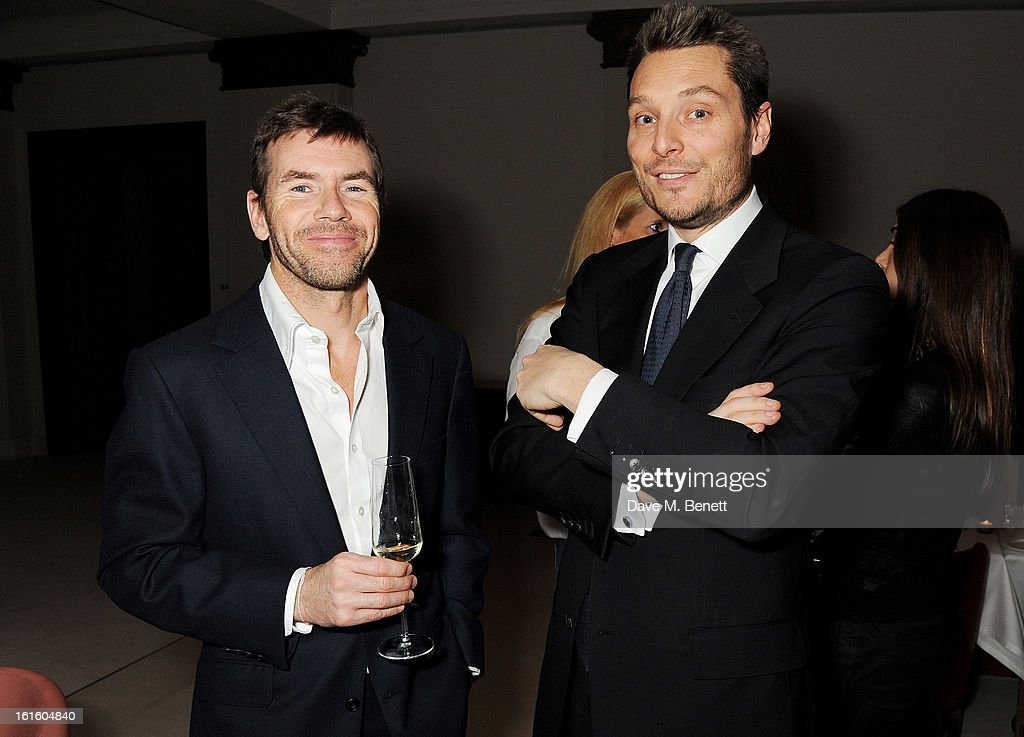 Paul Stewart (L) and Seb Bishop attend a private dinner hosted by Lucy Yeomans celebrating Jason Brooks at Cafe Royal on February 12, 2013 in London, England.