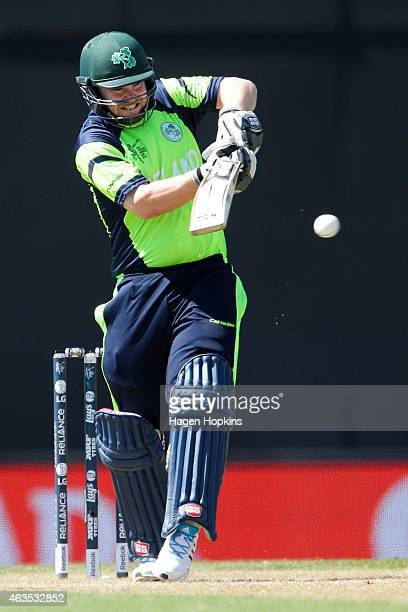 Paul Stirling of Ireland bats during the 2015 ICC Cricket World Cup match between the West Indies and Ireland at Saxton Field on February 16 2015 in...