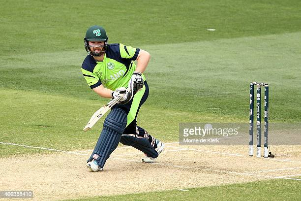 Paul Stirling of Ireland bats during the 2015 ICC Cricket World Cup match between Pakistan and Ireland at Adelaide Oval on March 15 2015 in Adelaide...