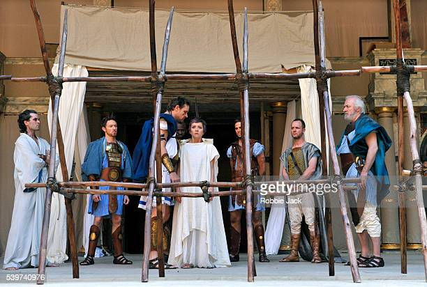 Paul Stocker as Troilus and Laura Pyper as Cressida and Mathew Kelly as Pandarus and Mathew Flynn as Agamemnon in the production of William...