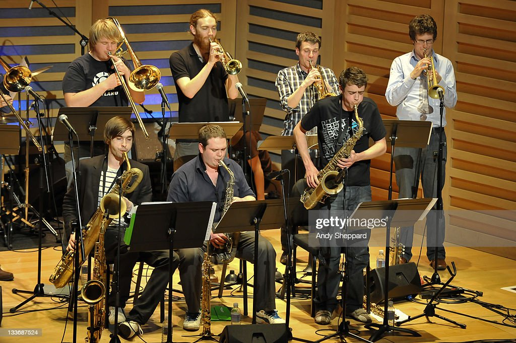 Paul Strachan, Ben Watte, Nick Walters, Sam Healey, Owen Bryce, Anthony Brown and Graham South of Beats & Pieces Big Band perform on stage at Kings Place during Day 9 of the London Jazz Festival 2011 on November 19, 2011 in London, United Kingdom.