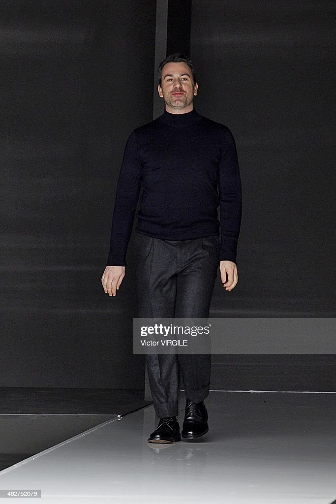 Paul Surridge walks the runway during the Z Zegna show as a part of Milan Fashion Week Menswear Autumn/Winter 2014 on January 14, 2014 in Milan, Italy.