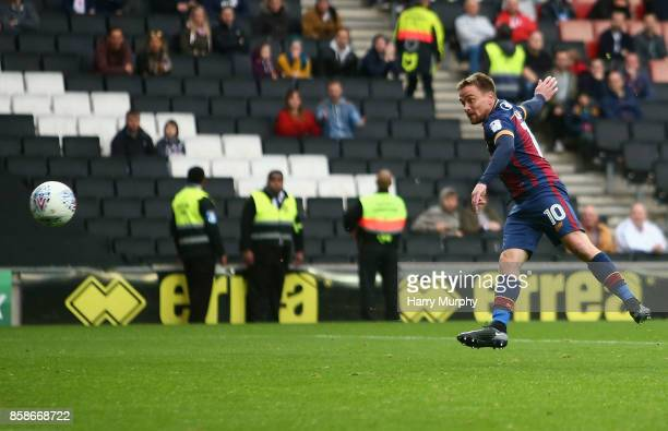 Paul Taylor of Bradford City scores his team's fourth goal during the Sky Bet League One match between Milton Keynes Dons and Bradford City at...