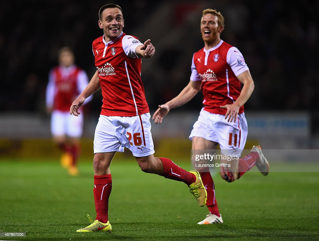 Paul Taylor of Rotherham United celebrates his first half goal during the Sky bet Championship match between Rotherham United and Fulham at The New York Stadium on October 21, 2014 in Rotherham, England.