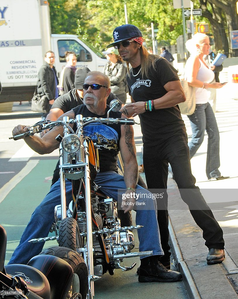 <a gi-track='captionPersonalityLinkClicked' href=/galleries/search?phrase=Paul+Teutul+Sr.&family=editorial&specificpeople=242944 ng-click='$event.stopPropagation()'>Paul Teutul Sr.</a>; and <a gi-track='captionPersonalityLinkClicked' href=/galleries/search?phrase=Bret+Michaels&family=editorial&specificpeople=1150752 ng-click='$event.stopPropagation()'>Bret Michaels</a> filming on location for 'Celebrity Apprentice All Stars' on October 16, 2012 in New York City.